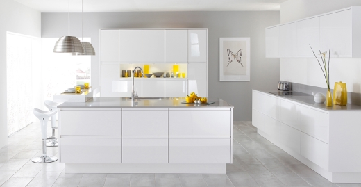 High Gloss Kitchen Designers Fitters East Kilbride Glasgow - Grey and white gloss kitchen